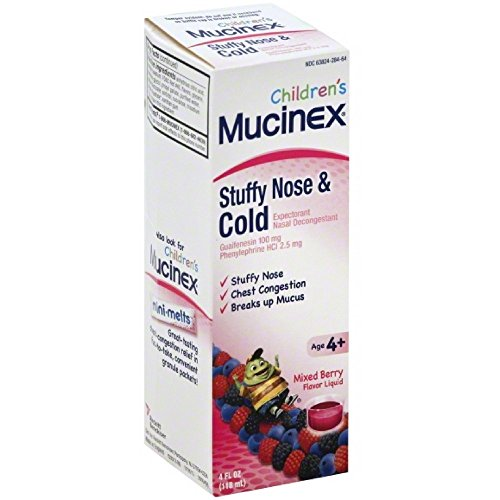 Mucinex Children's Stuffy Nose & Cold Liquid, Mixed Berry, 8oz (2X4oz) by Mucinex