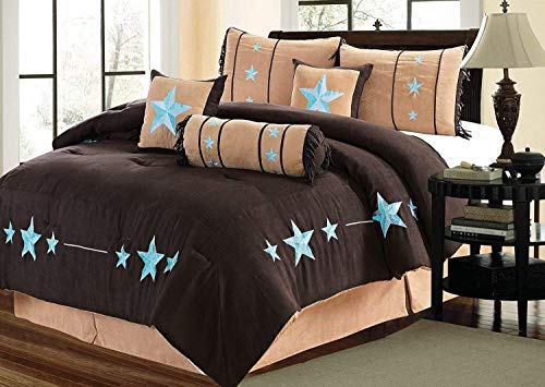Golden Linens 7 Pieces Embroidery Western Lodge Texas Star Oversize Comforter Set Dark Brown Chocolate, Camel & Aqua Blue Turquoise Lone Star Micro Suede Bedding King/Calking #BEIZI04