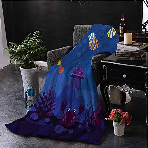 Luoiaax Cartoon Children's Blanket Aquarium Fish Whale Lightweight Soft Warm and Comfortable W60 x L70 Inch (Fish Tank Lsu)