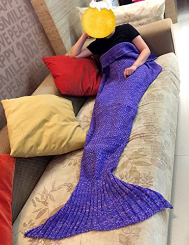 Holidayli Handmade Mermaid Tail Blanket For Kids Soft Knitted Lovely Warm Sofa TV Blankets Costume 56×28 inches (Purple)