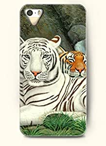 OOFIT Phone Case Design with Two Different Tiger for Apple iPhone 5 5s by runtopwell
