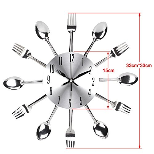 Timelike Kitchen Wall Clock, 3D Removable Modern Creative Cutlery Kitchen Spoon Fork Wall Clock Mirror Wall Decal Wall… 2