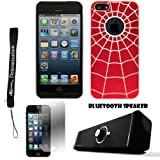 Red Spider Web Design One-Piece Back Protective Cover For Apple iPhone 5 iOS (6) Smart Phone + Supertooth Disco Bluetooth Speaker with AUX Cable + Apple iPhone 5 Screen Protector + an eBigValue Determination Hand Strap