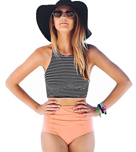 Lashapear Womens Stripe Bathing Swimsuit product image
