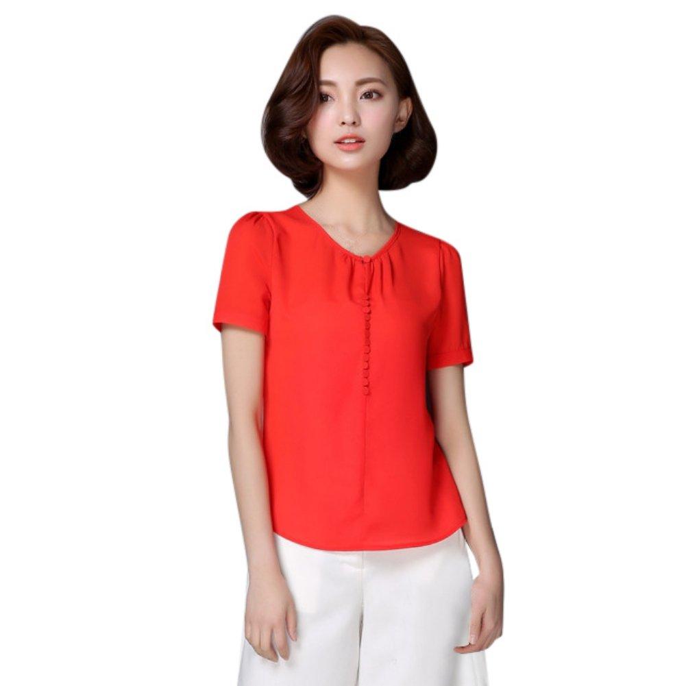 c60745e024d37 EFINNY Women Chiffon Blouse T-Shirt Office OL Short Sleeve Loose Tops  Workwear at Amazon Women s Clothing store