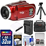 Vivitar DVR 960HD 1080p HD 12x Optical Zoom Video Camera Camcorder (Red) 32GB Card + Battery & Charger + Case + Tripod + Kit