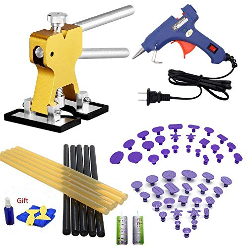 VTOLO 36 Pcs Paintless Dent Repair Tools Kit Gold Dent Lifter with Dent Removal Pulling Tabs Hot Melt Glue Gun Pro Glue Sticks for Dent Puller