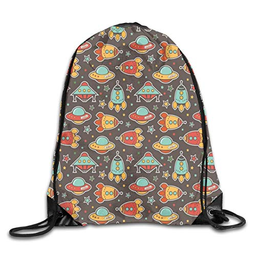 Lightweight Sport Fitness Traveling Bag Cute Rockets UFO Crafts Stars Portable Drawstring Shoulder Bundle Backpack For Court/Beach/Home/Swimming Pool/Library