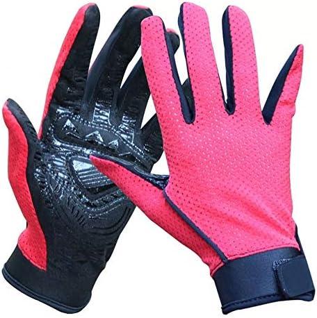 手袋 日常 実用 アウトドアハイキンググローブフルフィンガースリップリディンググローブ通気性日焼け止め釣り手袋1ペア (Color : Red, Size : XL)