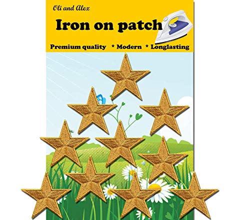 Iron On Patches - Yellow Star Patch 10 pcs Iron On Patch Embroidered Applique A-36 ()