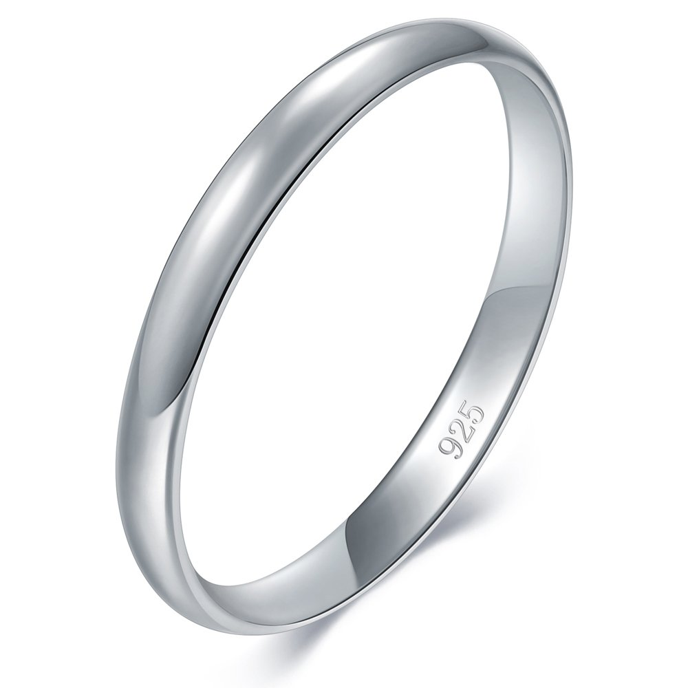 a0d641fea Amazon.com: BORUO 925 Sterling Silver Ring High Polish Plain Dome Tarnish  Resistant Comfort Fit Wedding Band 2mm Ring 4-12: Jewelry