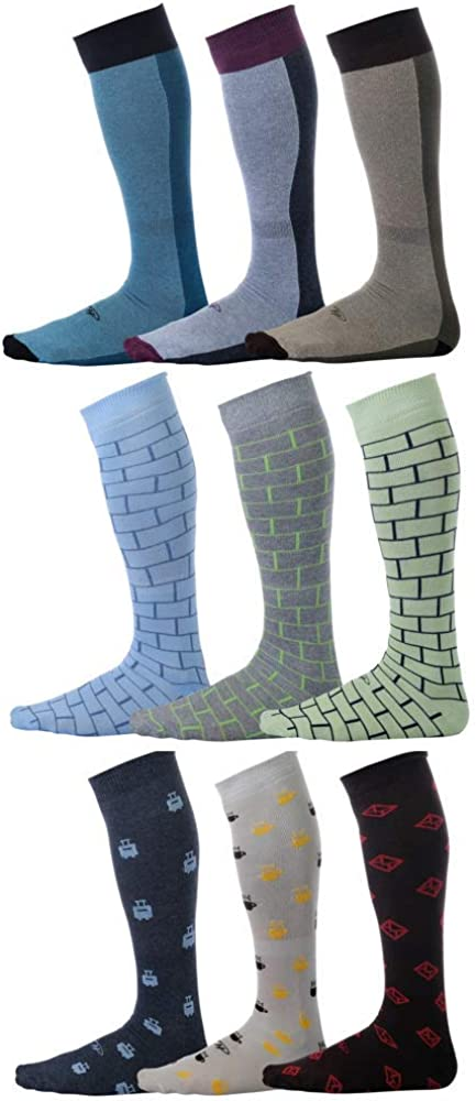 Pierre-Henry Premium Big & Tall Over the Calf Socks That Stay Up (Size 12-16) (9-pairs)
