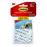 Command 17091CLR-C-VP Medium Hooks Value Pack, Medium, Clear, 6 Hooks 12 Medium Strips
