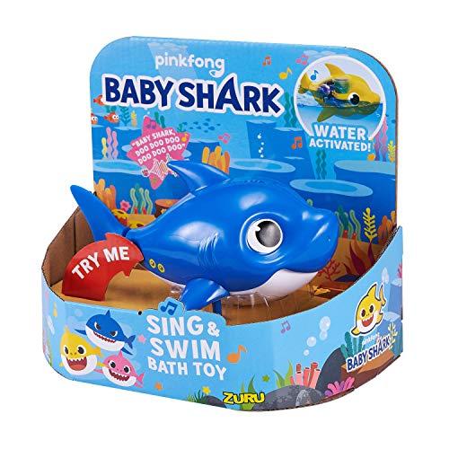 515x9wr41sL - Robo Alive Junior Baby Shark Battery-Powered Sing and Swim Bath Toy by ZURU - Daddy Shark (Blue)