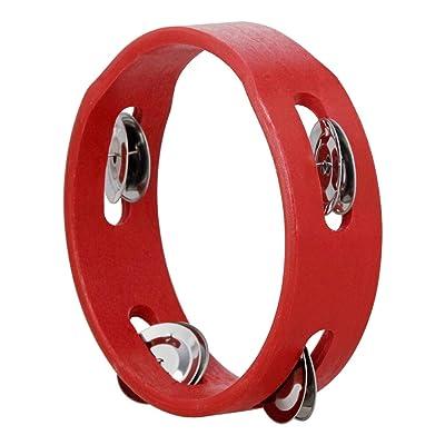 Festnight 6 pulgadas de mano de madera pandereta de mano campana de percusión de juguete musical de una sola fila de metal jingles rojo para la fiesta de los niños juegos: Instrumentos musicales