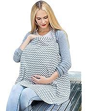 Libershine Amningsskydd oändlig omvårdnad skydd halsduk med fickor, andningsbar bomull mammor amning förkläde sjal baby bil säte skydd nyfödd baby linda filt grå