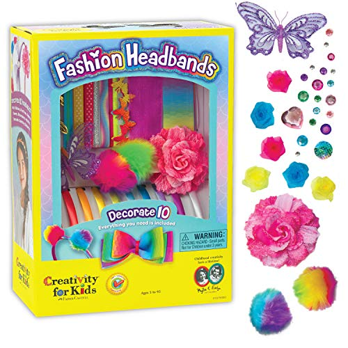 Creativity for Kids Fashion Headbands Craft Kit, Makes 10 Unique Hair Accessories (Packaging May Vary) -