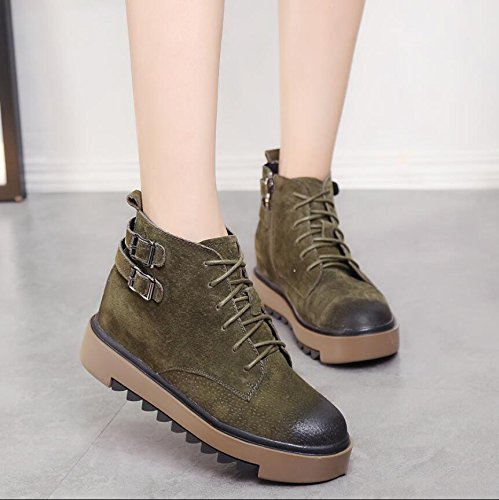 Short High Shoes England Boots Boots Shoes Matte Strap Zipper And Winter Female KHSKX Martin Barrel Women New 39 Side Autumn Help Leather x4T6Up