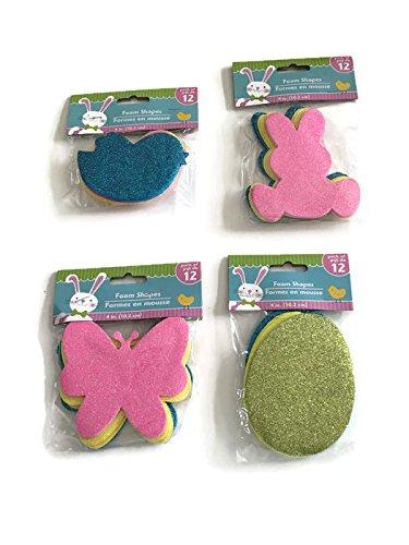 Easter Foam - Easter Spring Foam Shape Glittered Birds Eggs Bunnies Butterflies 4in 12 in Each Pack