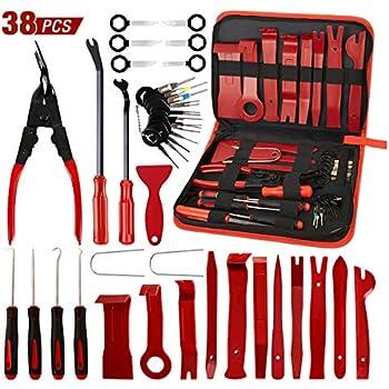 AUTOXEL 38 Pcs Trim Removal Tool Fastener Remover Tool Kit, Pry Kit, Car Panel Tool Radio Removal Tool Kit, Auto Clip Pliers