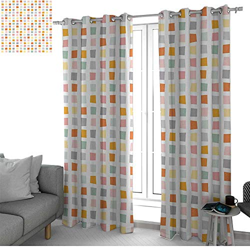 (NUOMANAN Curtains 84 inch Length Geometric,Squares with Soft Colors Hipster Culture Influenced Pattern Retro Themed Design,Multicolor,Modern Farmhouse Country Curtains)