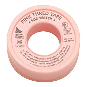 "Gasoila PT80-24 Pink PTFE High Density Thred Tape Roll, -450 to 550 Degree F Performance Temperature, 3.7 mil Thick, 260"" Length, 1/2"" Width, Thread tape for Water H2O"