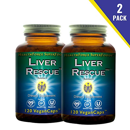 HealthForce SuperFoods Liver Rescue (2 Pack) - 120 Vegan Capsules - All Natural Liver Detoxifier with Milk Thistle & Dandelion Root - Gluten Free - 120 Total Servings (Best Natural Liver Detox)