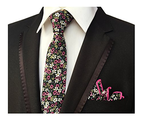 Men's Multicolored Flowers Bouquet Bright Colorful Flower Rose Leaf Pattern Ties - White Tie Collection Black Flowers