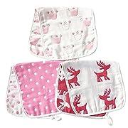 "ARNZION Burp Cloths Wipes for Girls Large 20"" by 10"" 100% Muslin Cotton Baby Girls Washcloths Rags Pads Nursing Cloths for Babies 3 Pack 6 Layers Muslin Versatile Princess Crown Reindeer Pattern"