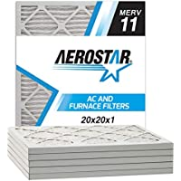 Aerostar Pleated Air Filter, MERV 11, 20x20x1, Pack of 6, Made in the USA