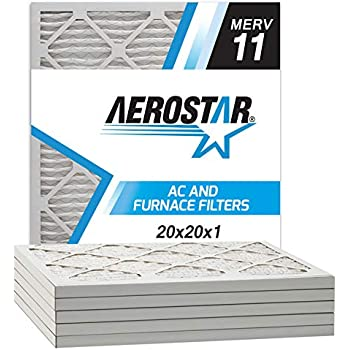 Aerostar 20x20x1 MERV 11 Pleated Air Filter, Made in the USA, 6-Pack