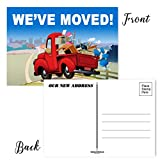 Red Truck - 50 Moving Announcement Postcards - 4 x 6 Inhes Moving Postcards - Change of Address Fill in the Blank Postcards (Red Truck)