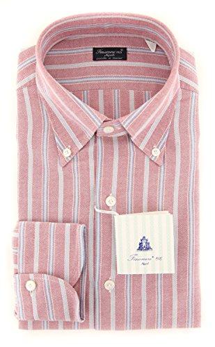 Finamore New Napoli Red Striped Slim Shirt (Shirt Red Napoli)
