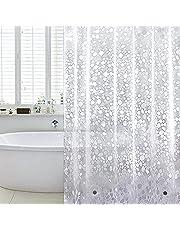 WELTRXE Zasłona prysznicowa, odporna na pleśń, magnesy obciążające na dole, 0,2 mm (183 x 183 cm), wodoszczelna, antybakteryjna, z materiału EVA, do prysznica i wanny, wzór bruku 3D, 12 pierścieni