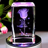 GracesDawn K9 Crystal Material 3D Laser Etched Crystal Rotating Rose -4 led Colorful Lights Can be rotated