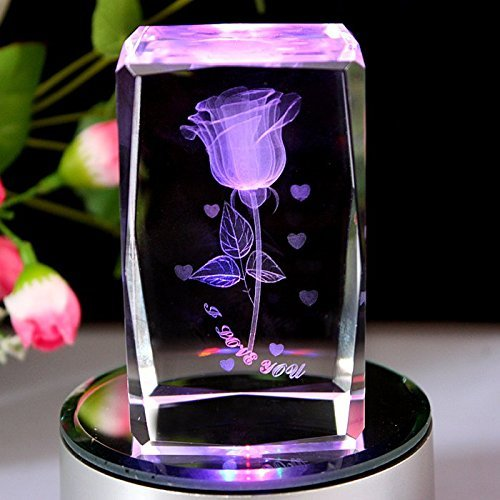 GracesDawn K9 Crystal Material 3D Laser Etched Crystal Rotating Rose -4 led Colorful Lights Can be - Roses Etched