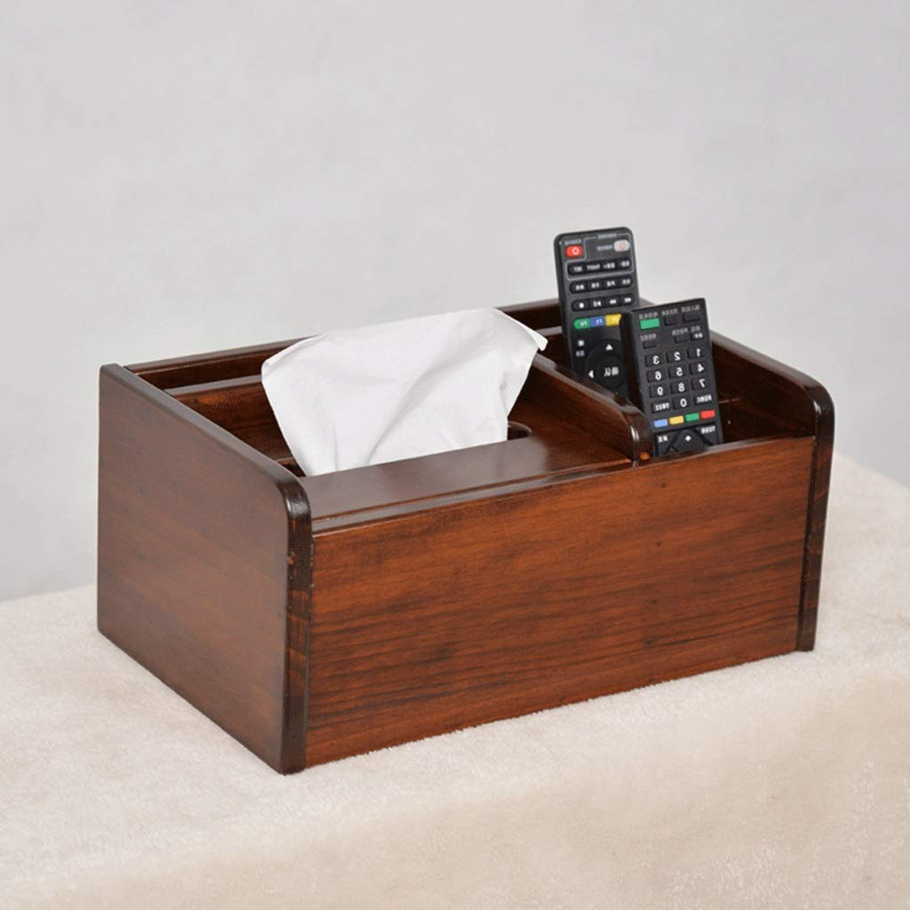 ZYN Solid Wood Multifunctional Tissue Box- Living Room Remote Control Storage Box Wooden Paper Napkin European Style Paper Box (Color : C)