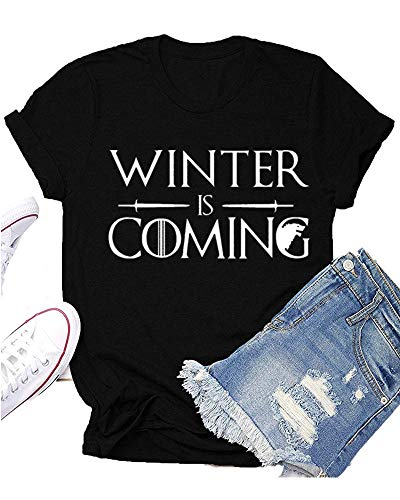 Winter is Coming Game Thrones T-Shirt Women GOT Thrones TV Show Shirt Funny Graphic Tees Tops Black ()