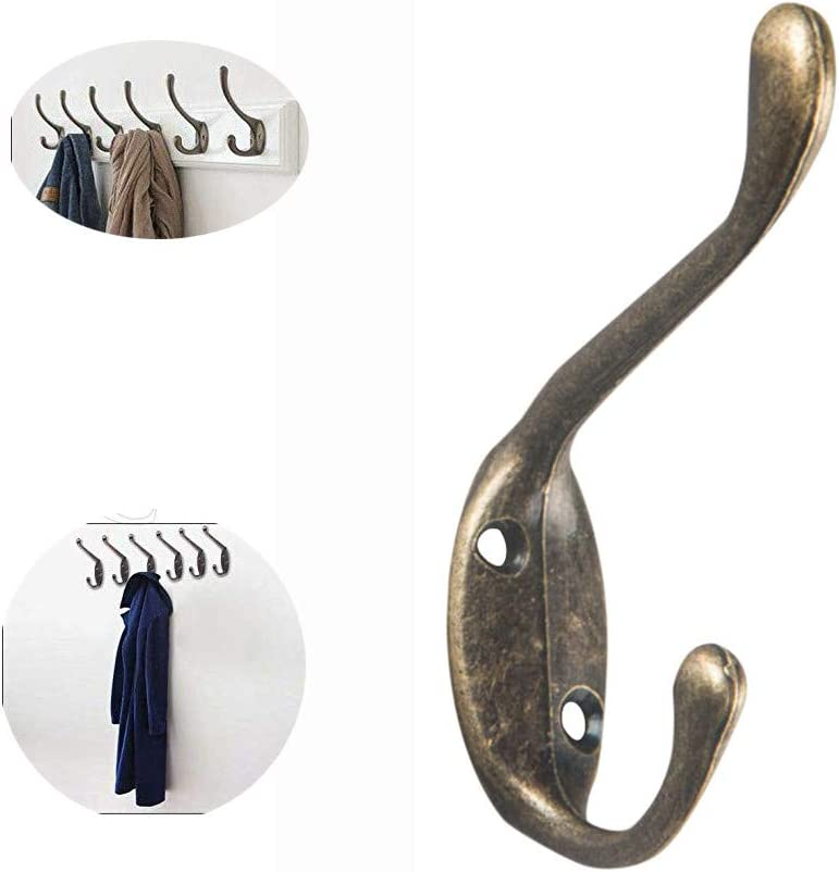 Lot Classic Anticue Industry Style Double Coat Hook Cast Iron Hanger W// Screw