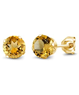 Gem Stone King 0.90 Ct Round Shape Yellow Citrine Yellow Gold Plated Silver Stud Earrings
