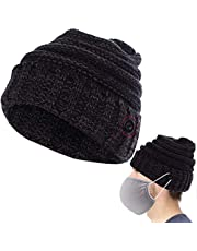 Cosweet Knitted Beanie Hat with Buttons- Thickened Woolen Button Cap for Men Women