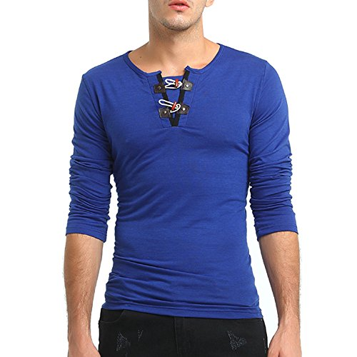 (YKARITIANNA Men's Autumn Pure Color Long Sleeved Pullover Button Sweatshirts Top Blouse)