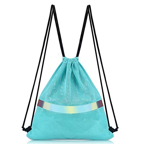 Drawstring Backpack Sports Gym Bag,Breathable Mesh Bag (Sky Blue)