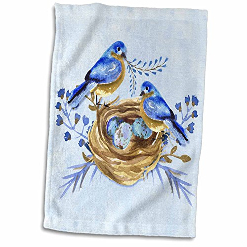 3dRose Two Bluebirds with Nest and Eggs in Watercolor Hues of Blue and Brown Towel, 15