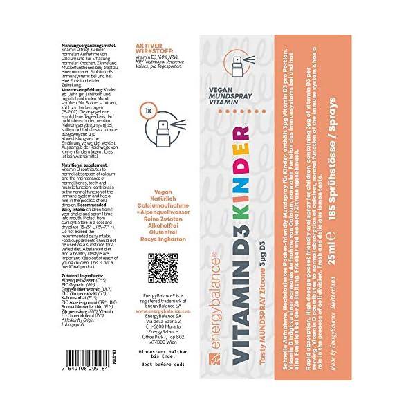 Vitamine D3 en spray pour enfants – Citron savoureux – 3µg – Végétalien – Sans alcool – Sans gluten – 185 sprays…