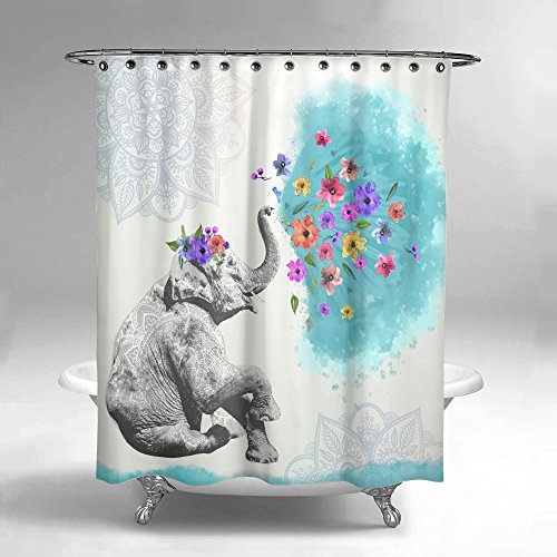 Lume.ly - Cute Colorful Mandala Elephant Flower Printed Fabric Bath Shower Curtain Set For Bathroom with Free PREMIUM Hooks, (Aqua Blue White) (72x72 in)