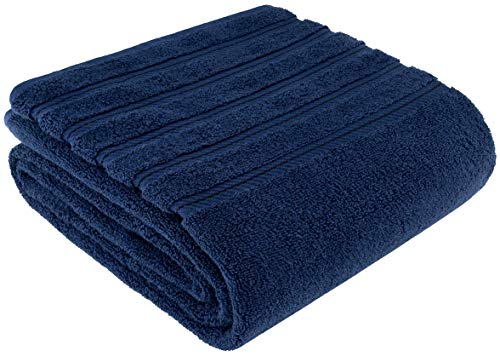 Premium, Luxury Hotel & Spa Quality, 35×70 Extra Large Jumbo Size Bath Towel, Bath Sheet Cotton for Maximum Softness and Absorbency by American Soft Linen, [Worth $34.95] (Navy Blue)