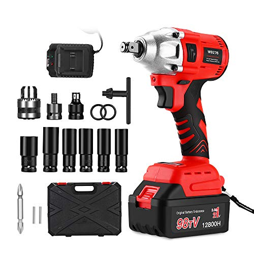 21V Brushless Cordless Impact Wrench, Electric Torque Driver Motor, Variable Speed Trigger Tool Kit, with 3.0 Ah Batteries and Fast Charger