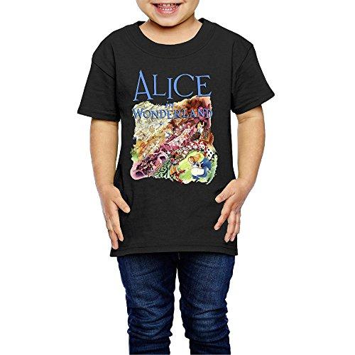 AK79 Children 2-6 Years Old Boys And Girls Alice In Wonderland T-shirt Black Size 2 Toddler
