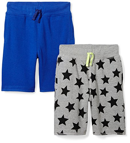 (Amazon Brand - Spotted Zebra Boys'   2-Pack French Terry Knit Shorts, Star/Blue, 2T)